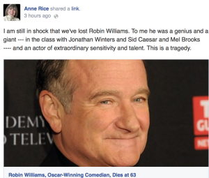 Anne Rice Robin Williams Facebook