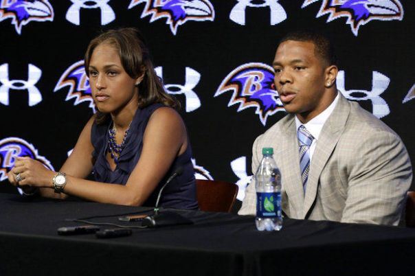 Ray Rice, Baltimore Ravens running back and his wife, Janay, during an NFL football news conference Friday, May 23, 2014 (AP Photo/Patrick Semansky) (Patrick Semansky)