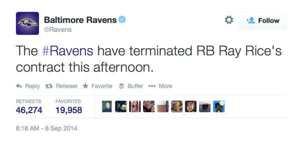Twitter Baltimore Ravens Cut Ray Rice over domestic violence video
